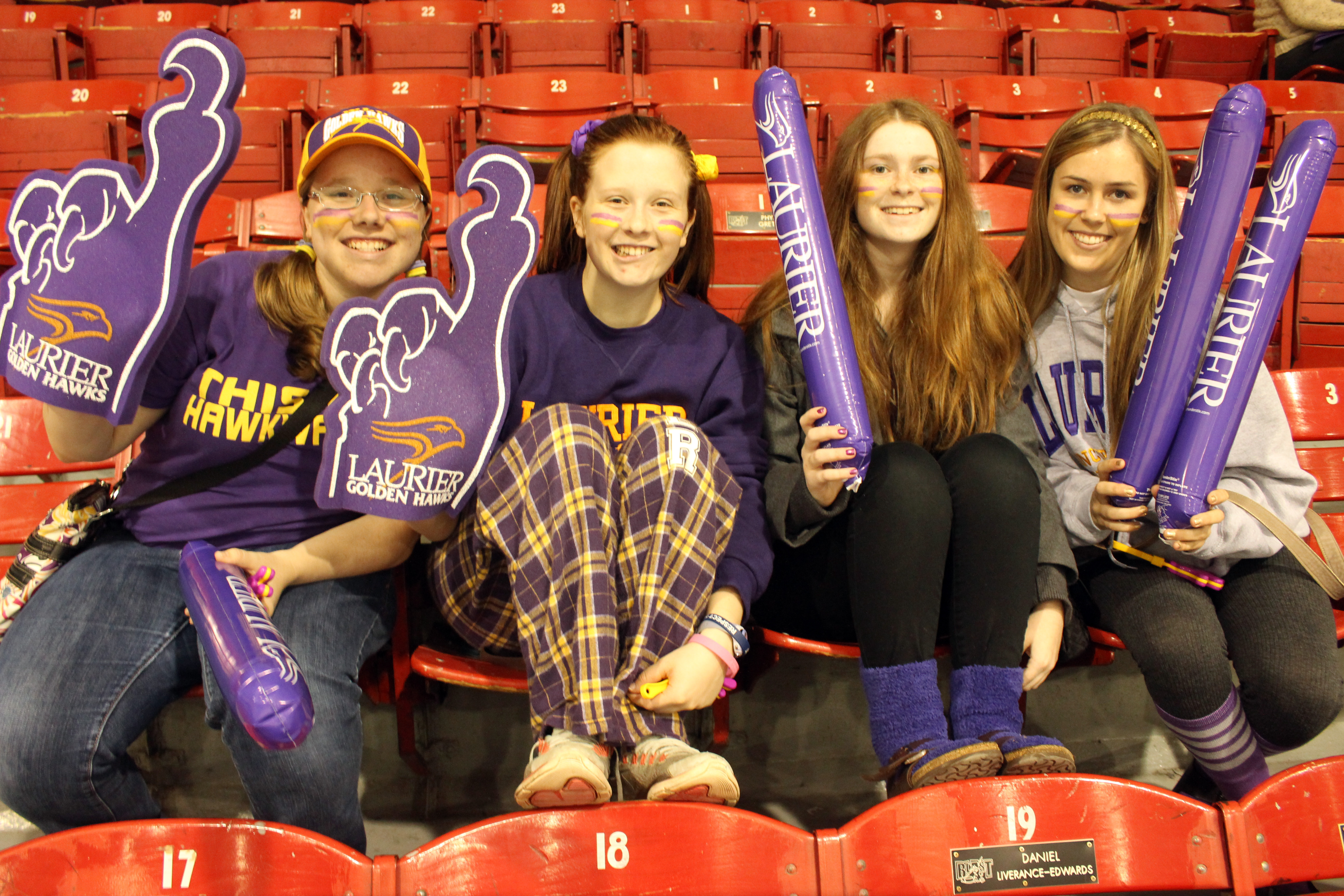 Laurier Brantford students cheer on the Golden Hawks at Homecoming.