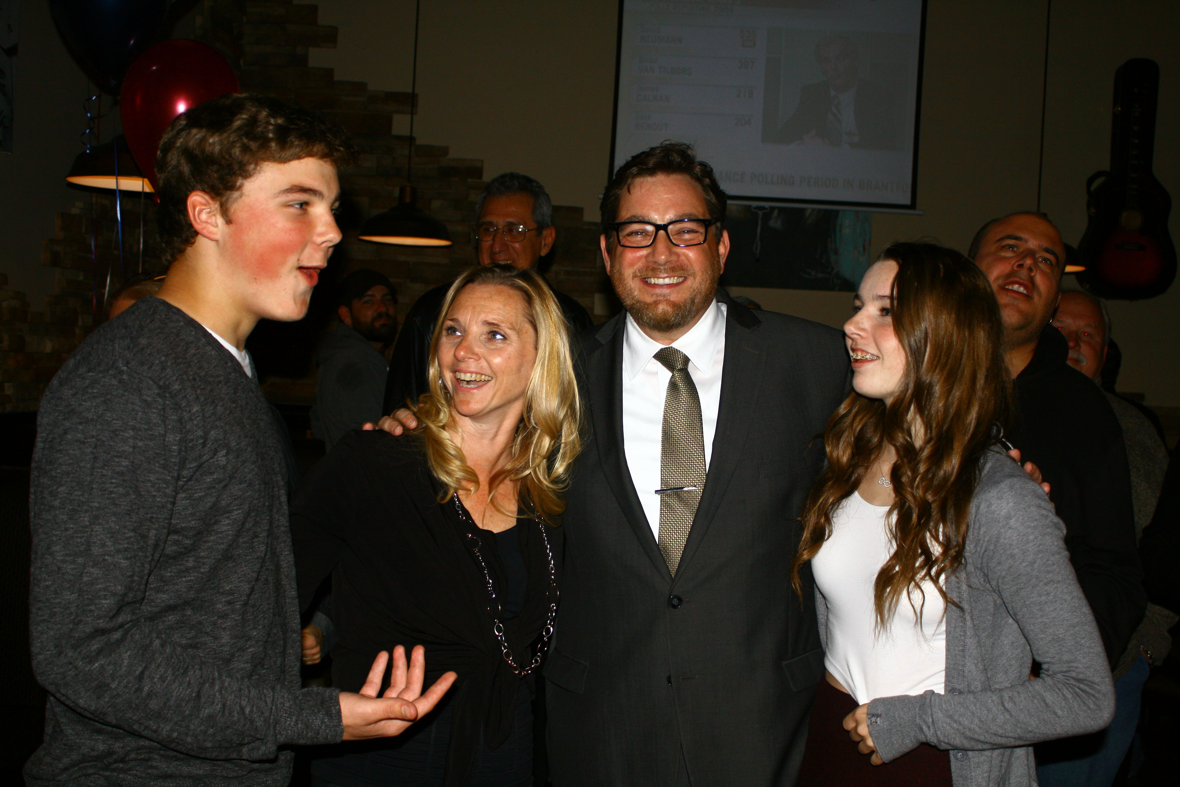 Mayor Friel with his wife and children after winning last night's election. Photo by Cody Hoffman