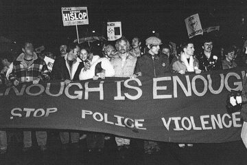 A picture of the protest against bathhouse raids Protest in 1981 in Toronto, Ontario.  Gerald Hannon