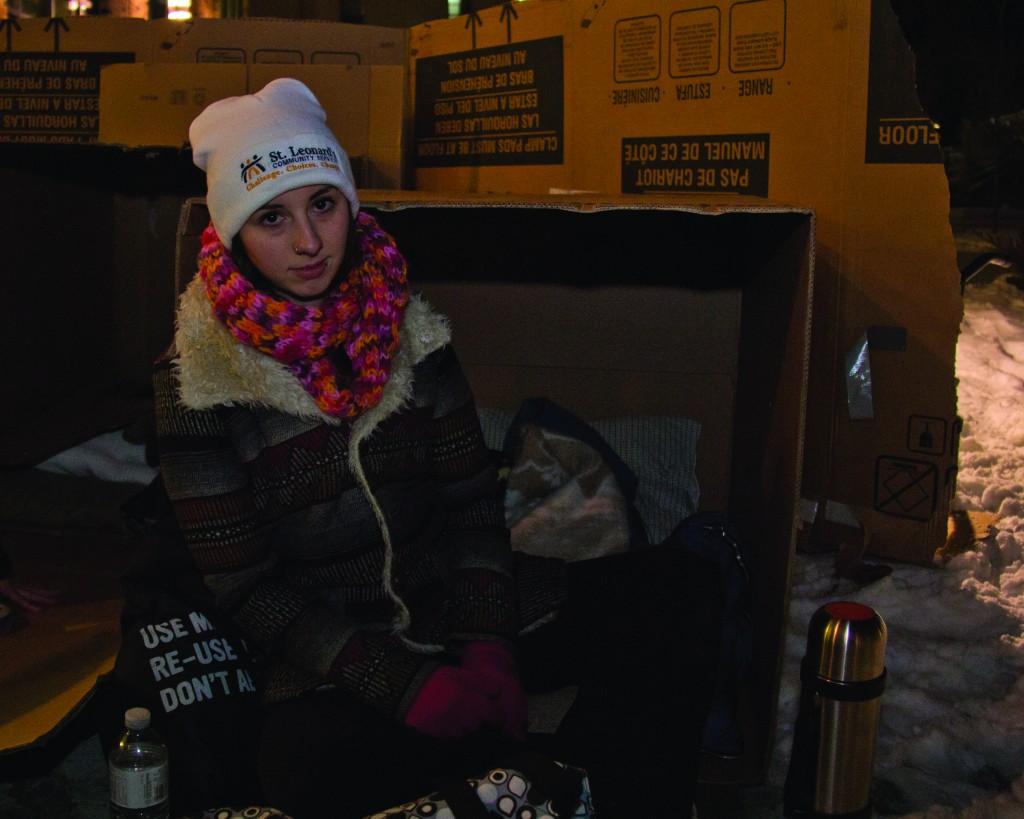 Casey outside of her temporary shelter
