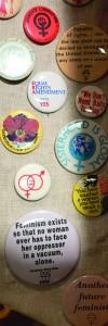 Feminist buttons at Women's Museum