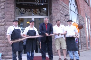 Ribbon cutting ceremony. From left:  Duff Thomson, Lee Hiscock, Dave Levac, Chris Friel, Cameron Hiscock.