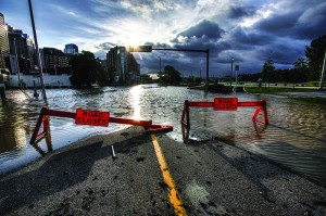 Riverfront Ave in Calgary during the Alberta floods. Photo courtesy of Ryan L.C. Quad.