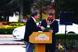 MP Phil McColeman gives Mayor Chris Friel a certificate recognizing his efforts in establishing the Walk of Fame.