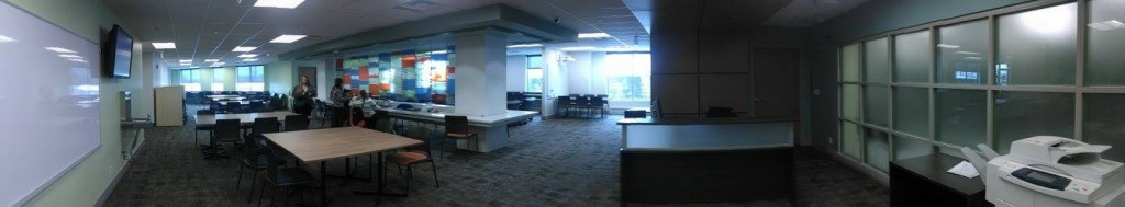 The new Digital Library and Learning Commons desk and study booth space. Nathanael Lewis