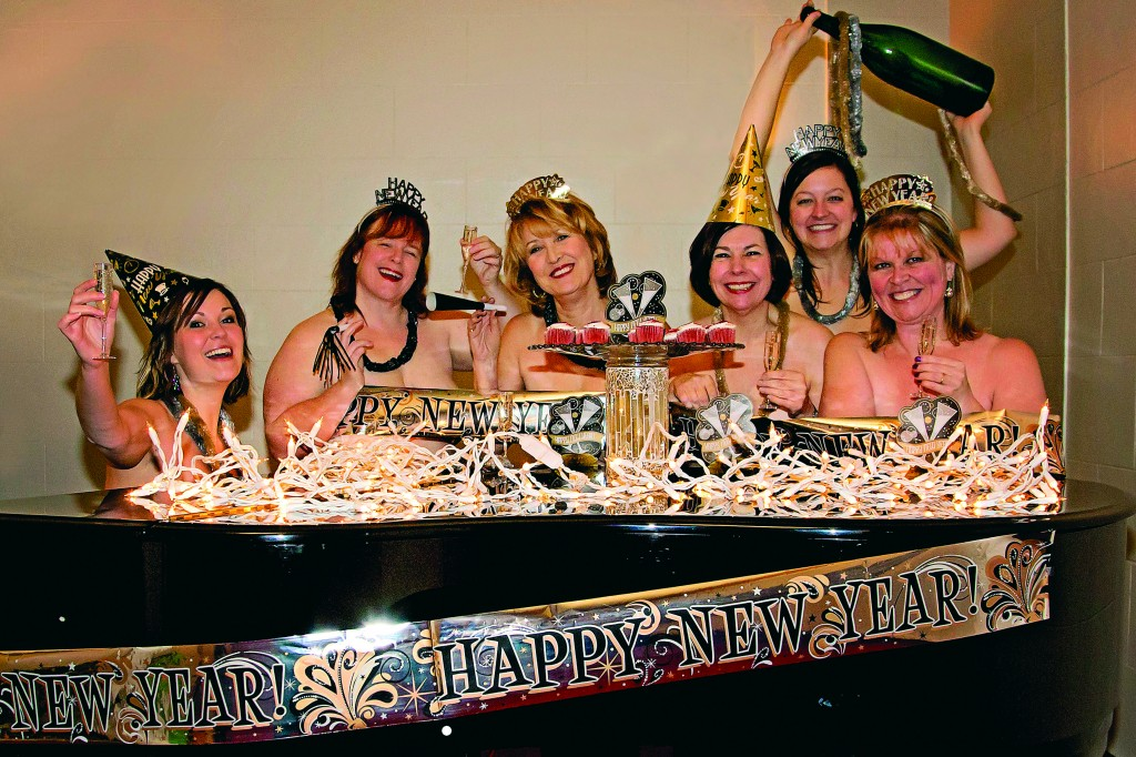 The Calendar Girls ring in the New Year in the buff. From left to right: Deanna Stevens, Linda Lloyd-McKenzie, Sophia Buzzelli, Elizabeth Durand, Jessica O'Connor and Valerie Harrison. Courtesy of Heather Cardle