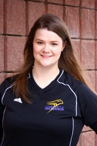 Lindsey Miller, a proud Golden Hawk, enjoys serving the university community. Cody Hoffman.