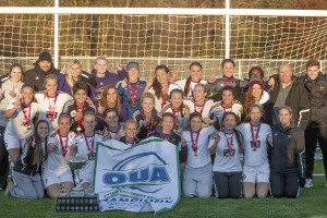 The Laurier girls' soccer team were OUA champions in 2013, beating Western to capture their eighth OUA title. Courtesy of Heather Davidson.
