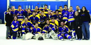 The men's hockey team brought home the Challenge Cup in 2013, crowning Laurier Brantford as the best college hockey team in Ontario. Courtesy of Durham Athletics.