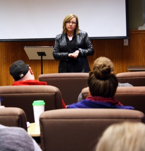 Kathy English, Toronto Star's public editor, speaks to Laurier Brantford professors and students. By Christina Mannochio.