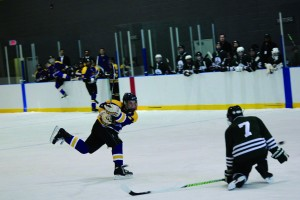 Dave Howe takes a shot from the slot against Trent University. Laurier lost the game 1-0. Courtesy of WLU Athletics and Recreation.