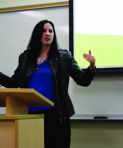 Trish Hennessy was Keynote speaker for Social Work Week event. She speaks to students and community members on inequality and poverty. By Christina Mannochio.