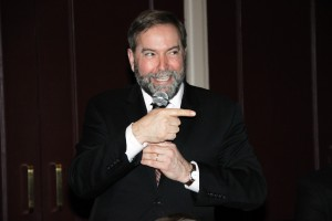 Thomas Mulcair, official leader of the NDP, speaks to Brantford locals at the Sanderson Centre. By Aldo Zhang.