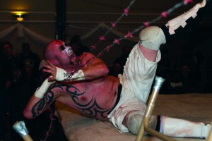 Chad Michael Gowing performing as Warhed at a Hardcore Roadtrip wrestling event. Courtesy of independent professional wrestler photographer, Tabercil