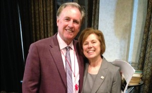 Fox 40 and Fluke Transportation Chair and CEO Ron Foxcroft with Brant Community Fountation Executive Director Joanne Lewis (photo by Amber Richardson).