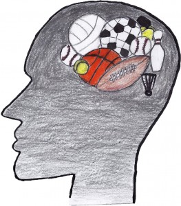 Athletes have to focus on the psychological side of sports just as much as the physical. Art by Neha Sekhon