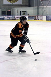 Clay Chalmers playing with the Paris Mounties of Ontario Hockey Association. Photo courtesy of Ryan Ferguson