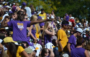 Ed McFarlane was one of many Wilfrid Laurier students to don the purple and gold to come cheer on Laurier's football team at their homecoming game, as they cruised to a 53-3 victory over the visiting Carleton Ravens. Photo by Jacob Dearlove