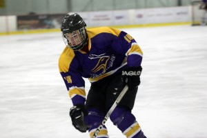 Corey Way and the Golden Hawks were eliminated in the semifinals at George Brown in the men's first extramural hockey tournament of the season. Photo courtesy of Laurier Brantford Athletics & Recreation