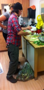 Joe Farrell cutting up some vegetables. Photo by Josh Adesina