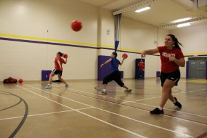 The co-ed dodgeball team prepares for their last tournament of the year Jan. 22. Photo by Cody Hoffman