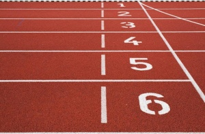 Numbered lanes on a track.